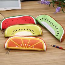 Cute Fruit Kiwi Orange Pencil Case Bag Box Pouch Zipper Holder Kids Stat... - $12.99