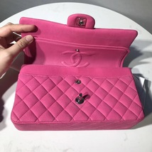 AUTHENTIC CHANEL PINK QUILTED CAVIAR MEDIUM CLASSIC DOUBLE FLAP BAG SHW image 6