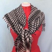 "Plaid Checked Square Scarf Wrap White Black 42"" w/o tassels - $18.04"