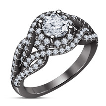 Round Diamond Solitaire Engagement Ring 14K Black Gold Finish 925 Silver... - $81.99