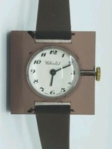 Vintage Never Worn Clear Smokey Topaz Chalet Bubble Swiss Watch Runs Great - $49.45