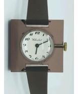 Vintage Never Worn Clear Smokey Topaz Chalet Bubble Swiss Watch Runs Great - $49.45