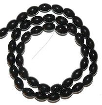 """Black Opaque Glossy 9mm Tapered Oval Barrel Glass Beads 15"""" - $16.83"""