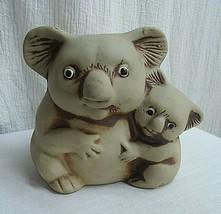 g136 Vintage Koala Planter Momma Koala and Baby clay pottery planter - $14.96