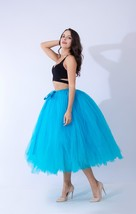 Women Puffy Tutu Skirt Drawstring High Waist Long Tulle Skirt Petticoat One Size image 4