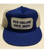 Vtg New England Trucker Hat North Dakota Patch Cap Blue White Town Small... - $69.29