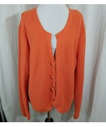 J.Jill Orange Knit Cardigan Sweater 3 Button Front Scalloped Front Long ... - $34.29