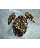 Vintage West Germany Gold Navette & Boreralis Rhinestone Large Brooch & ... - $89.95