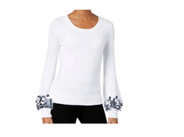$110  Michael Kors Cotton Sequin-Cuff Sweater White XL - $77.12