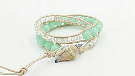 aquamarine gemstone leather wrap beach bracelet with sea shell  - $30.00