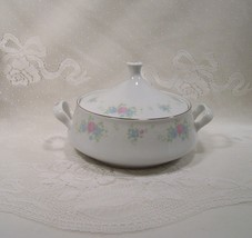 Prestige - China Garden  Covered Vegetable Bowl with handles Pink & Blue... - $34.95