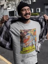 Godzilla vs Mechagodzilla T-shirt vintage Sci Fi Japanese Monster movie gray tee image 3