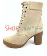 """TIMBERLAND WOMENS CAMDALE CHUNKY HEEL 6"""" INCH BOOTS LIGHT TAUPE NUBUCK A1W6T - $143.20"""