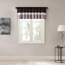 Luxury Black Grey & Silver Pintucked Faux Silk Window Valance - Rod Pocket - $35.14