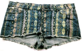 Forever 21 Women's Booty Jean Shorts Size 31 Blue Boho Pockets Stretch R... - $18.10