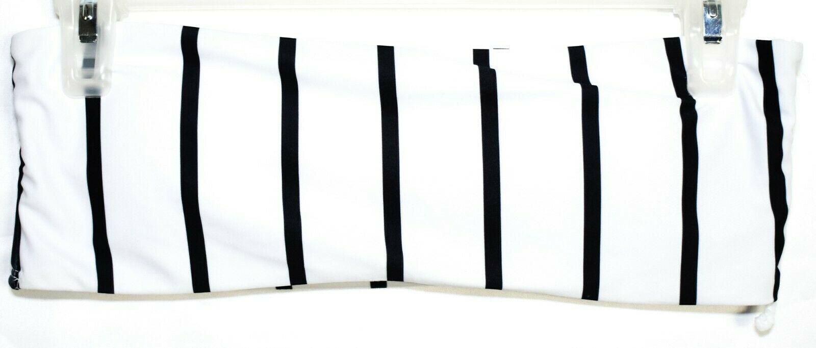 Zaful Black & White Vertical Striped Bandeau Bikini Top US 4 | UK 8