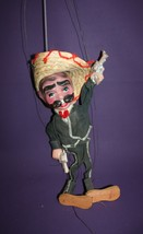 Vintage Mexican Sombrero Man Marionette Puppet with Pistols - $19.79