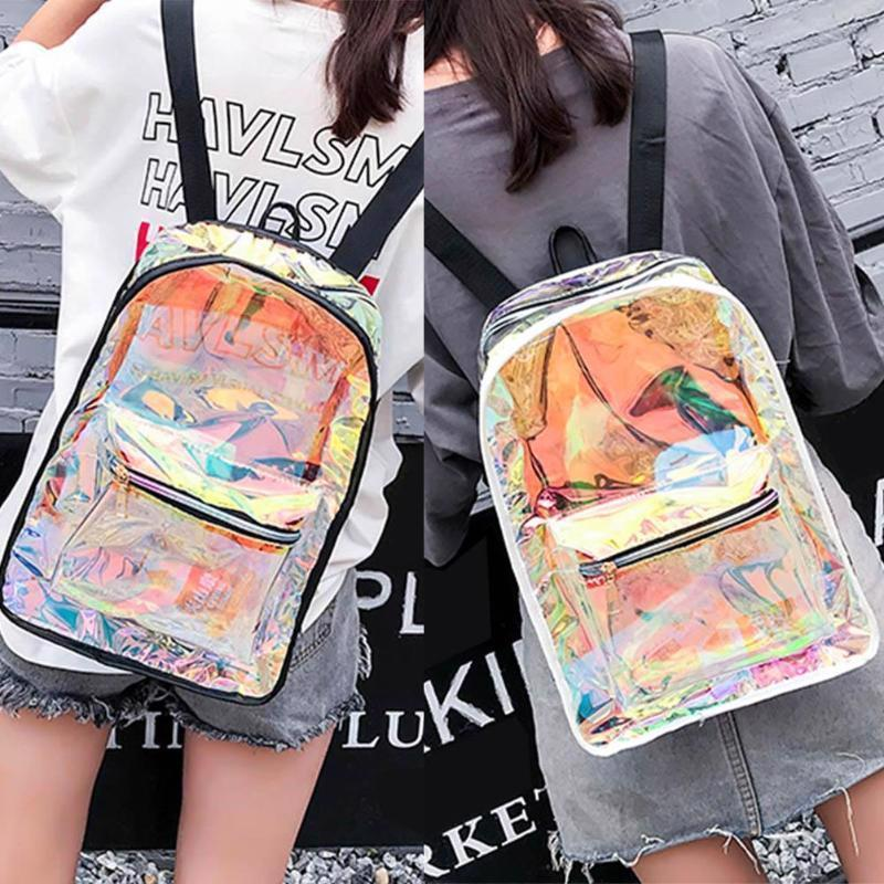 Holographic Transparent Backpack Women Clear Shoulder Bag Hologram Laser Satchel