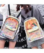 Holographic Transparent Backpack Women Clear Shoulder Bag Hologram Laser... - $23.99