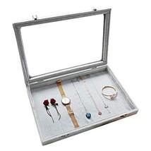 Wuligirl Ice Velvet Clear Lid Multifunction Jewelry Tray Showcase Displa... - $29.70
