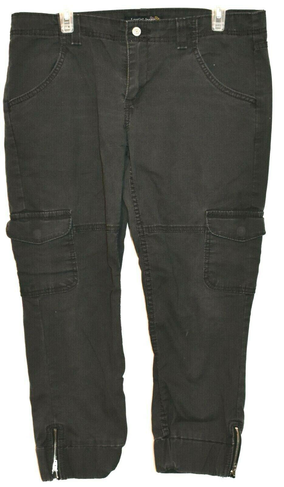 Levi's Women's Gray Cargo Cropped Capri Zipper Leg Denim Pants Size 13