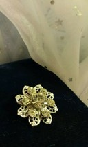 Vintage Silver tone Rhinestone Accented Filigree flower Brooch Pinback - $2.63