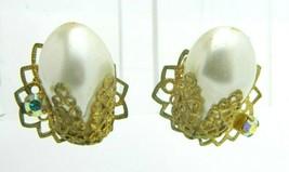 GERMANY Faux Pearl Gold Tone Rhinestone Filigree Clip-On Earrings Vintage - $13.86