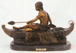 """""""Girl on The Boat"""" Collectible Solid Bronze Sculpture Statue By C. M. Russell - $1,051.05"""
