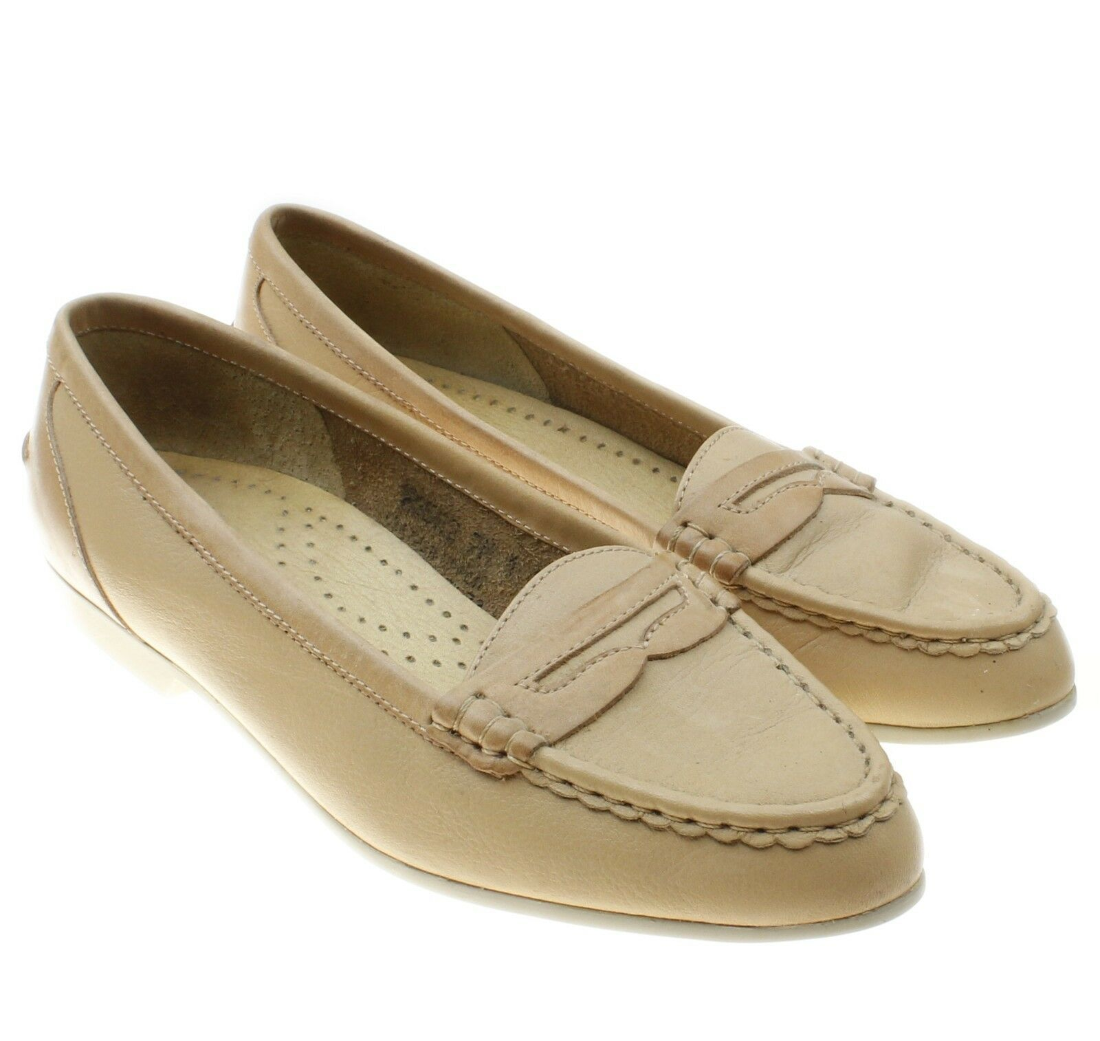 215d9e08613 Rockport Beige Leather Slip Ons Penny Loafer Style Flats Shoes Women s Size  7 M -  26.68
