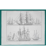 SHIPS French Frigate Saluting Half Galley Merchant Vessel - 1828 Antique... - $24.30