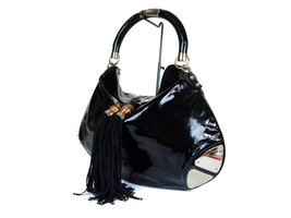 Auth GUCCI Patent Leather Black Shoulder Bag with Fringe GS1654 - $389.00