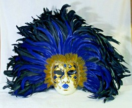 Extra Large La Maschera Del Galeone Blue and Black Feathered Wall Mask - $148.50
