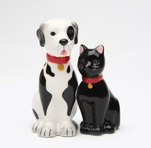 Dog and Cat Good Friends Magnetic Ceremic Salt and Pepper Shakers - $12.86