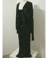 Vintage OR Silk Fashions 100% Silk Black LS Sequin Gown W/Attached Jacket S - $359.99