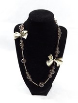 """J Crew Brown Beaded Ribbon 34"""" Gold Tone Chain Necklace Signed EUC - $14.95"""