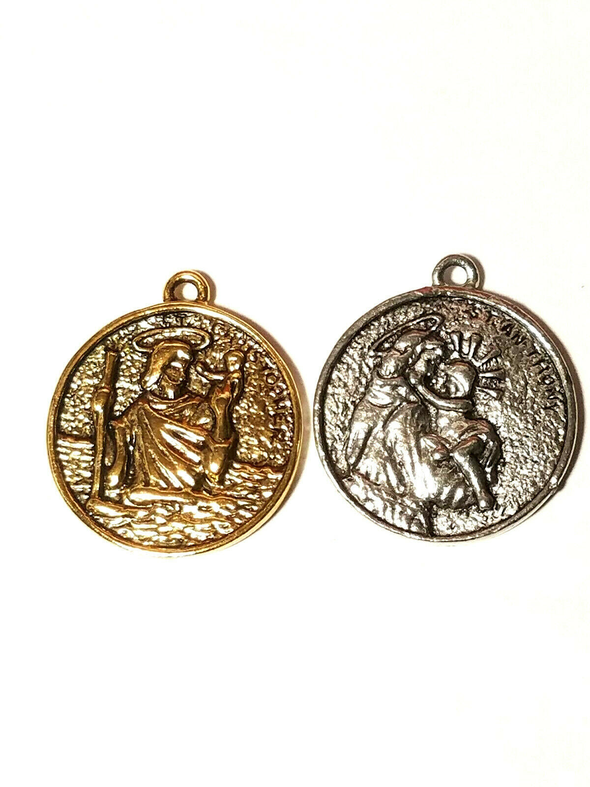 SAINT ANTHONY AND SAINT CHRISTOPHER PEWTER PENDANT CHARM