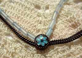 """NECKLACE Handcrafted Artsy Semi Precious Beads Enamel Floral Bead Chain 18"""" - $14.69"""