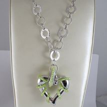 925 STERLING SILVER NECKLACE WITH PERIDOT FINELY WORKED BIG HEART PENDANT, ITALY image 3