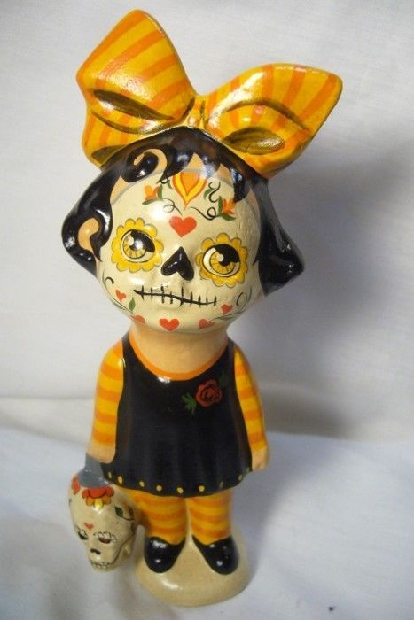 Vaillancourt Folk Art, Day of the Dead Girl or Halloween signed by Judi!