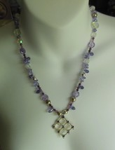 Crystal Rhinestone Purple Glass Bead Pendant Necklace  - $44.55