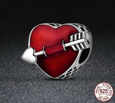 925 Sterling Silver First Love Engrave Arrow Heart Charm Beads Fit Pandora - $10.99