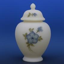 Fenton Art Glass Blue Dogwood on Cameo Satin c.1982 Covered Ginger Jar image 2