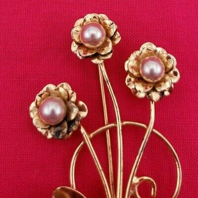 Beautiful Vintage Coro Sterling Vermeil Brooch / Pin with Pearl and Bow  (#444)