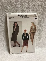 Vogue 8106 Misses And Misses Petite Jacket Skirt Sewing Pattern - $11.87