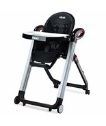 HEAO Foldable High Chair Reclining Height Adjustable 4 Wheels Black - $168.02