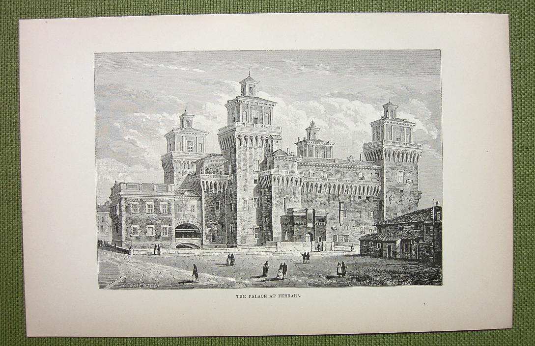 Primary image for ITALA Palace at Ferrara - 1880s Antique Print