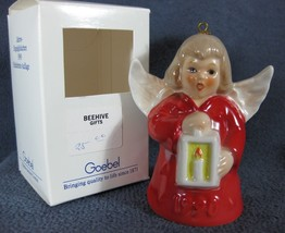 Goebel Annual Angel Bell Ornament 1990 Lantern Red Boxed West Germany Vi... - $29.97