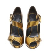 Auth GINA Golden Solid Patent Leather Heels Ankle Strap 37 US 6 UK 4 - $186.07