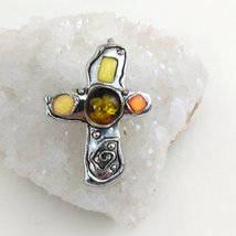 Cross Pendant / Brooch Silver Tone with Faux Amber and Stones image 1
