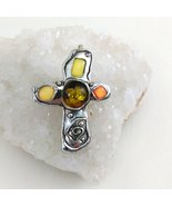 Cross Pendant / Brooch Silver Tone with Faux Amber and Stones - $12.99